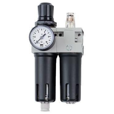 Okamžite použiteľná vďaka kompletne zmontovanej úpravnej jednotke, ktorá sa skladá z redukčného ventilu s filtrom a primazávačom