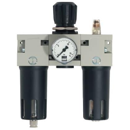 Okamžite použiteľná vďaka kompletne zmontovanej úpravnej jednotke, ktorá sa skladá z filtra, redukčného ventilu a primazávača
